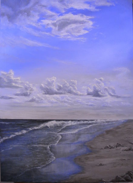 Acrylmalerei, Wolken, Sand, Wasser, Landschaft, Nordsee