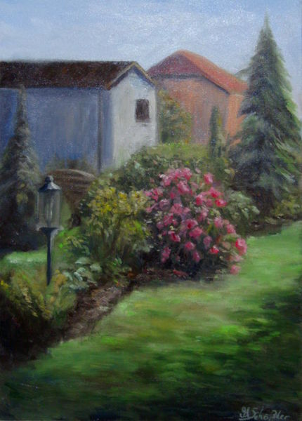 Blumen, Gemälde, Landschaft, Grün, Baum, Busch