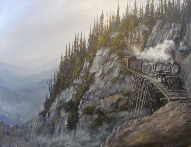 Schiene, Landschaft, Acrylmalerei, Zug, Dampflok, Verkehr