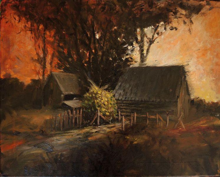 Sonnenaufgang, Wald, Hütte, Gemälde, Landschaft, Woods