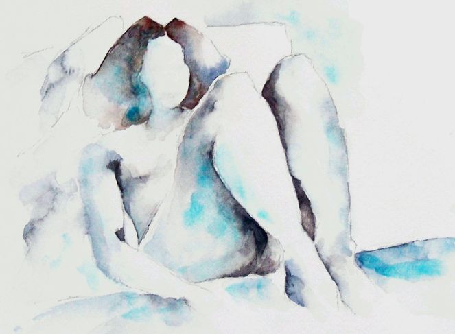Aquarellmalerei, Körper, Akt, Limitieren, Skizze, Frau