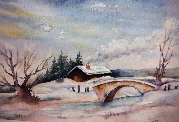 Brücke, Weg, Landschaft, Winter, Aquarellmalerei, Schnee