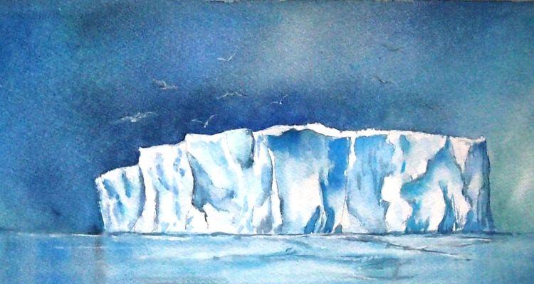 Weiß, Eisberg, Blau, Eismeer, Vogel, Aquarell