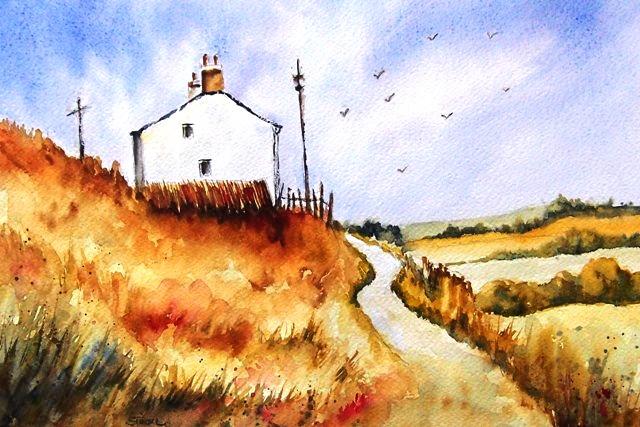 Wal, Großbritannien, Haus, Landschaft, Aquarellmalerei, Aquarell