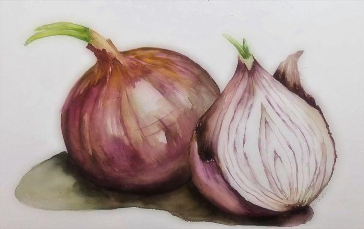 Zwiebeln, Gemüse, Stillleben, Aquarellmalerei, Gemälde, Aquarell