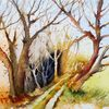 Stimmung, Herbst, Aquarellmalerei, Baum