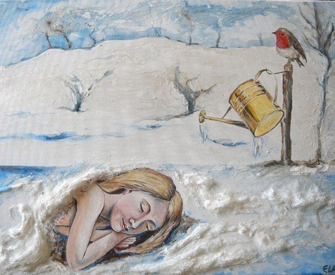 Winter, Mädchen, Schlaf, Rotkehlchen, Gießkanne, Schnee