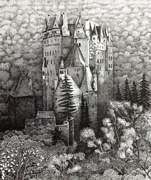 Mosel, Landschaft, Tuschezeichnung, Deutschland, Tuschfederzeichnung, Burg eltz