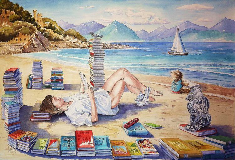 Bücher, Modern, Strand, Aquarellmalerei, Geist, Meer