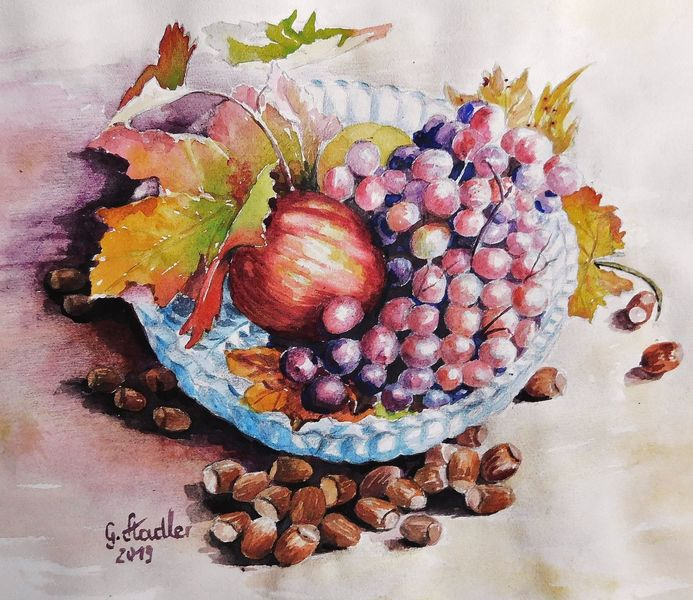 Jahreszeiten, Nüsse, Aquarellmalerei, Laub, Glasschale, Trauben