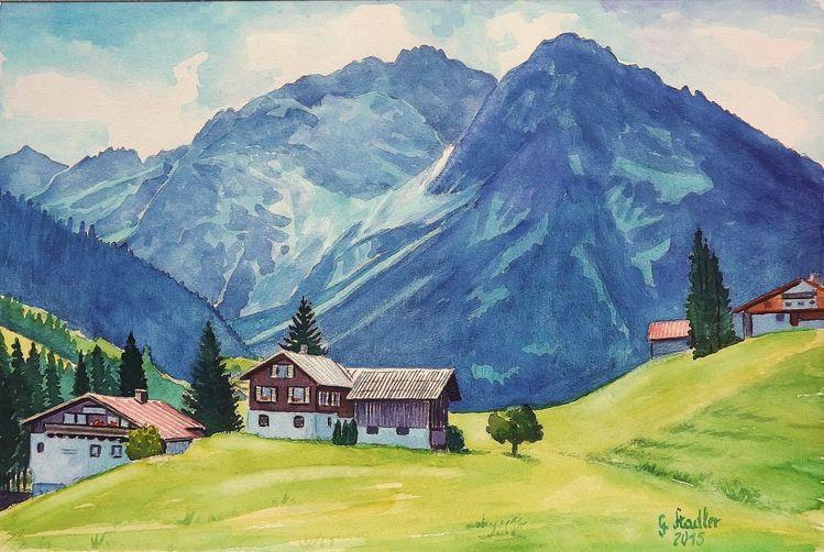 Alpen, Landschaft, Kleinwalsertal, Hirschegg, Berge, Aquarellmalerei