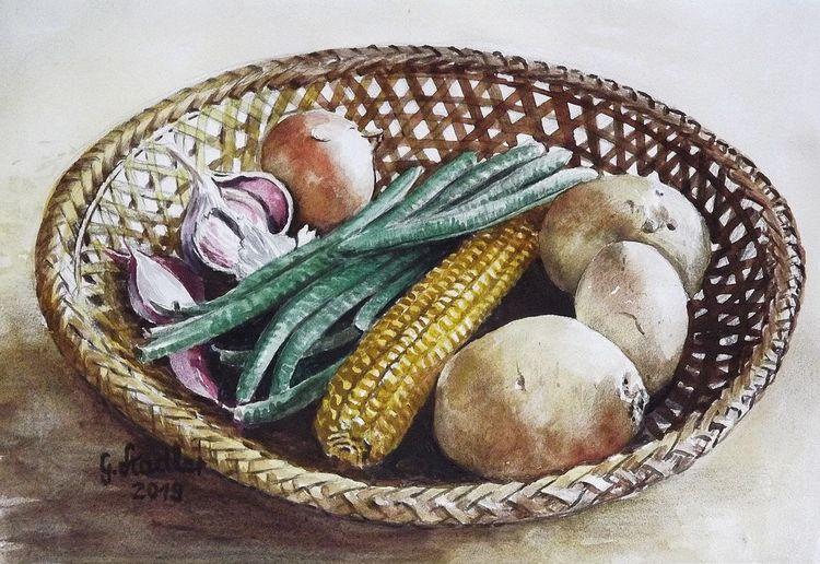 Mais, Aquarellmalerei, Korb, Gemüse, Gesund, Bohne