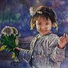 Mädchen, Freundlich, Odenwald, Blumenstrauß