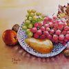 Trauben, Weinlaub, Apfel, Aquarellmalerei