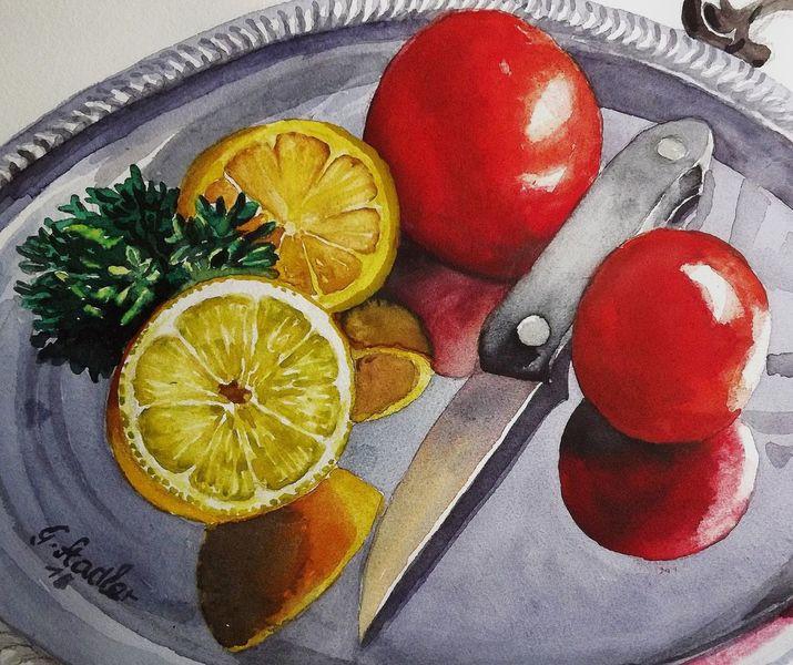 Mahlzeit, Obst gemüse, Messer, Essen, Tomaten und zitronen, Aquarellmalerei