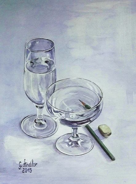 Bleistiftzeichnung, Radiergummi, Transparenz, Wasser, Aquarellmalerei, Glas