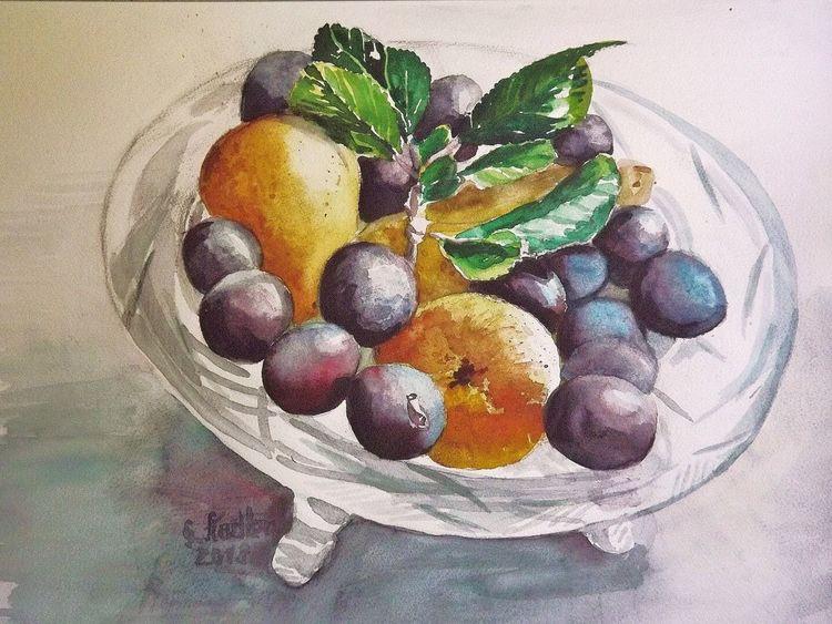 Glasschale, Gesund, Aquarellmalerei, Früchte, Obst, Zwetschge