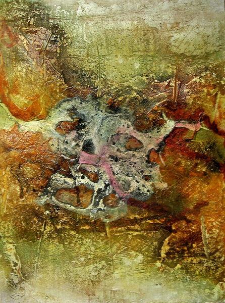 Wachs, Abstrakt, Ölmalerei, Beize, Spachteltechnik, Malerei