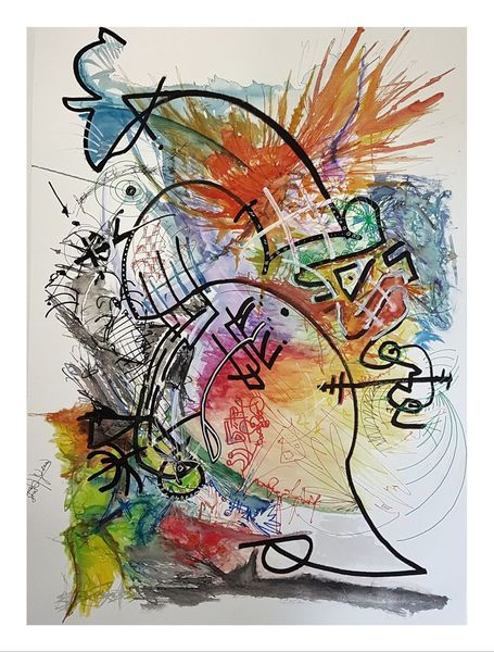 Abstrakt, Pareidolie, Gesicht, Farben, Bunt, Aquarell