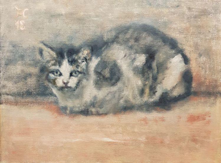 Katze, Blau, Altrosa, Augen, Malerei