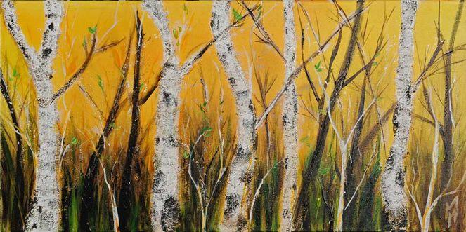 Natur, Gelb, Birken, Hell, Weiß, Baum
