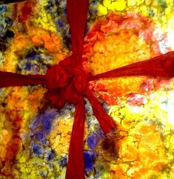 Geschenk, Wachs, Orange, Geschenkband, Blumenwiese, Holz