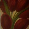 Tulpen, Mischtechnik, Rot, Blumen