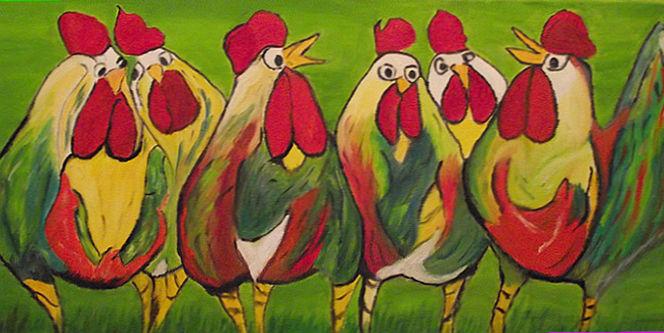 Henn, Huhn, Gras, Bunte hühner, Hahn, Malerei