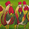 Henn, Huhn, Gras, Bunte hühner