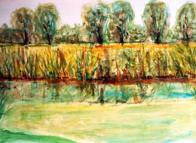 Baum, Feld, Sommer, Grün, Spiegelung, Wasser