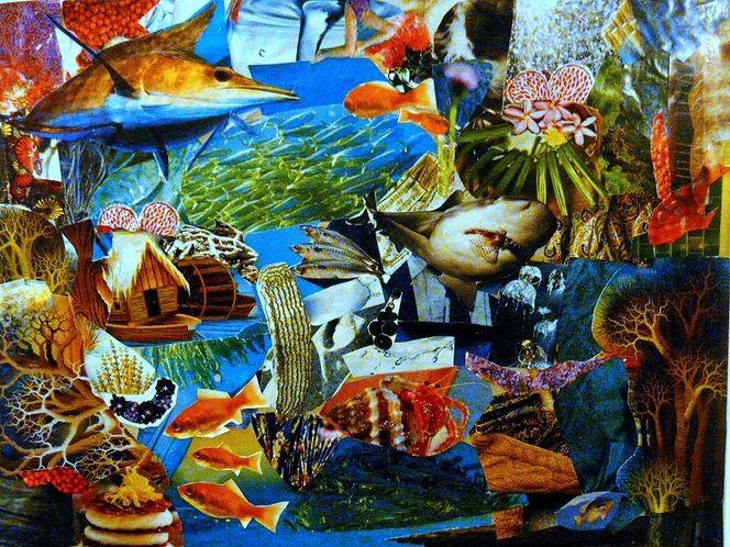 Fisch, Collage, Farben, Bein, Wasser, Fantasie