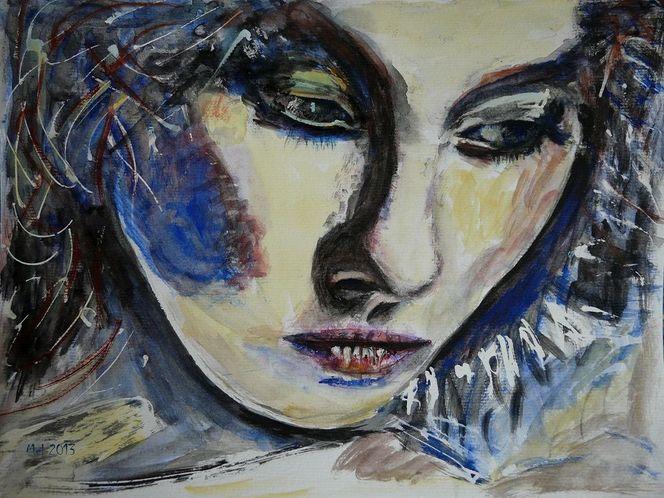 Aquarellmalerei, Frau, Blick, Portrait, Gesicht, Aquarell
