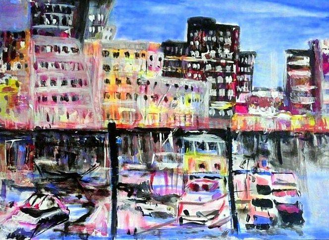 Yachthafen, Boot, Wasser, Gehry, Rhein, Stadt