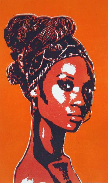 Portrait, Druckgrafik, Warme farben, Frau, Karibik, Linolschnitt