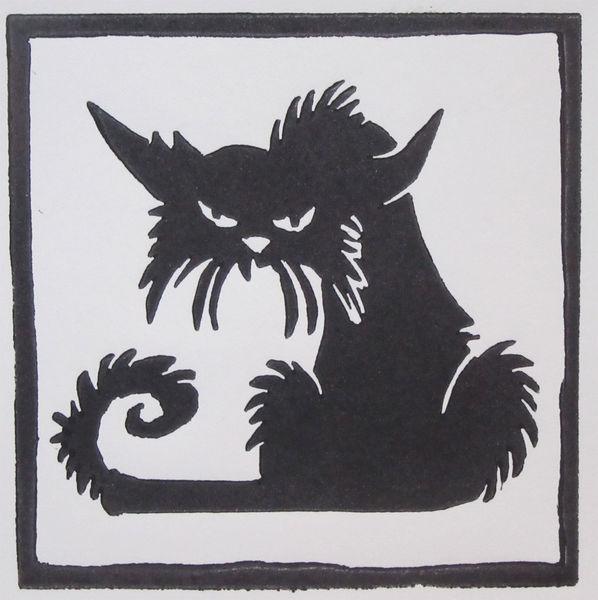 Katze, Linoldruck, Hochdruck, Druckgrafik,