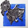 Linolschnitt, Linoldruck, Linolcut, Fisch