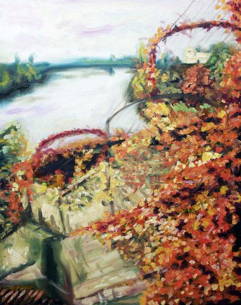 Herbst, Himmel, Weintrauben, Fluss, Treppe, Malerei