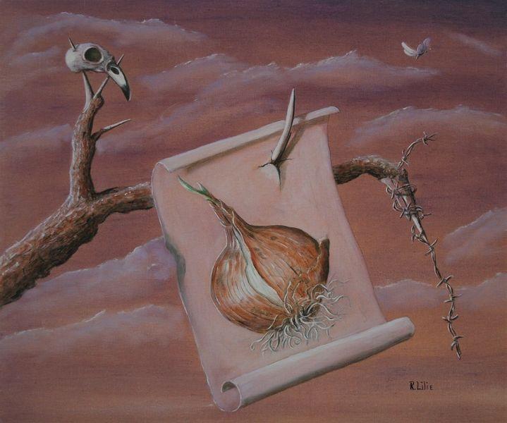 Zwiebeln, Vogelschädel, Verfall, Äste, Stille, Malerei
