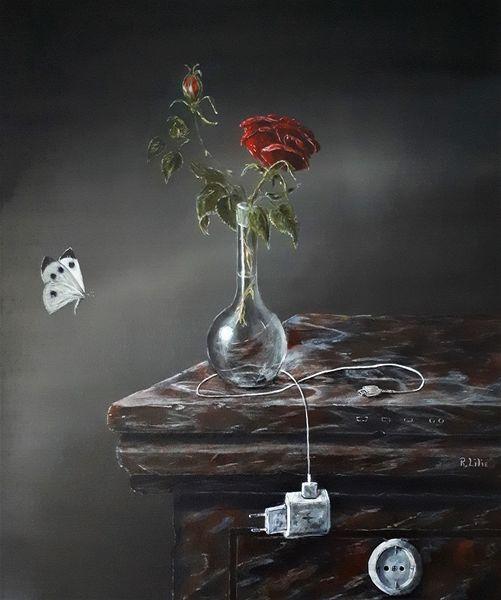 Vase, Stillleben, Rose, Steckdose, Usb, Marmor