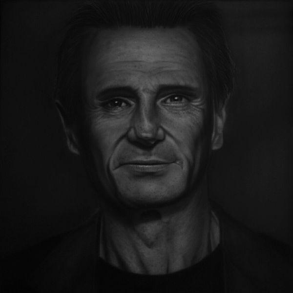 Gesicht, Neeson, Monochrom, Schauspieler, Kontrast, Portrait