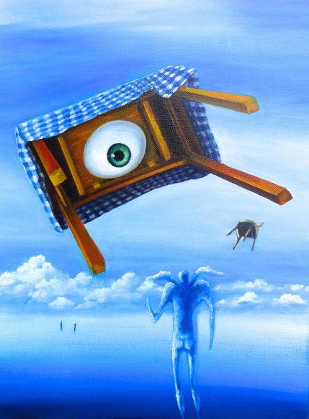 Augen, Tornado, Tisch, Malerei