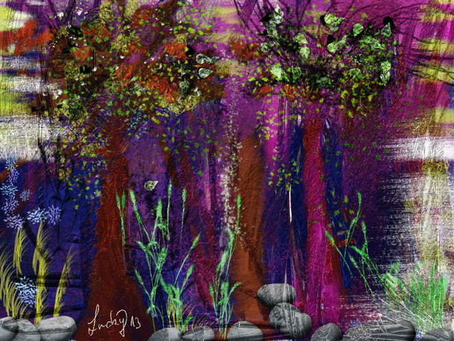 Abstrakt, Traumwald, Malerei