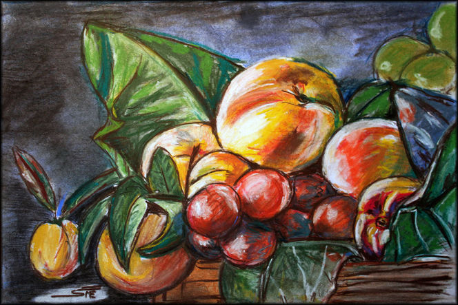 Sepia, Haarlack, Stillleben, Obst, Pastellmalerei, Interpretation