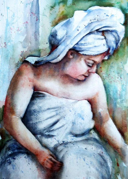 Aquarell, Frau, Bad