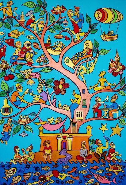 Baum, Insel, Malta, Malerei