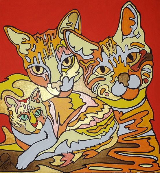 Liebling, Katze, Malerei,