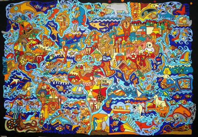 Fisch, Indien, Malta, Weltkarte, Panda, Stadtplan