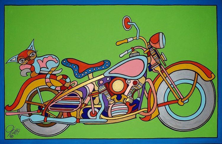 Motorbike, Katze, Harley davidson, Bike, Malerei