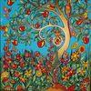 Blumen, Garten, Baum, Malerei