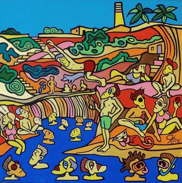 Becken, Malta, Schwimmen, Malerei,